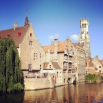 Bruge canal with willow