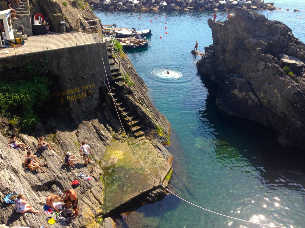 Swimming in the port at Manarola