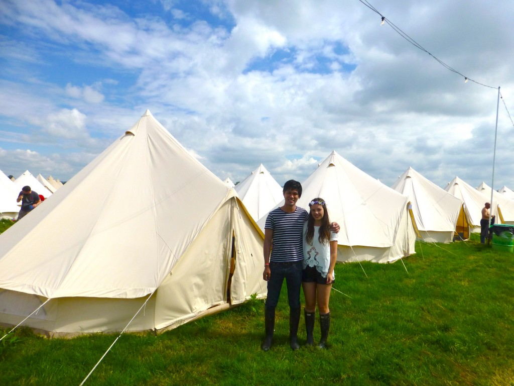 Micu and I outside our bell tents