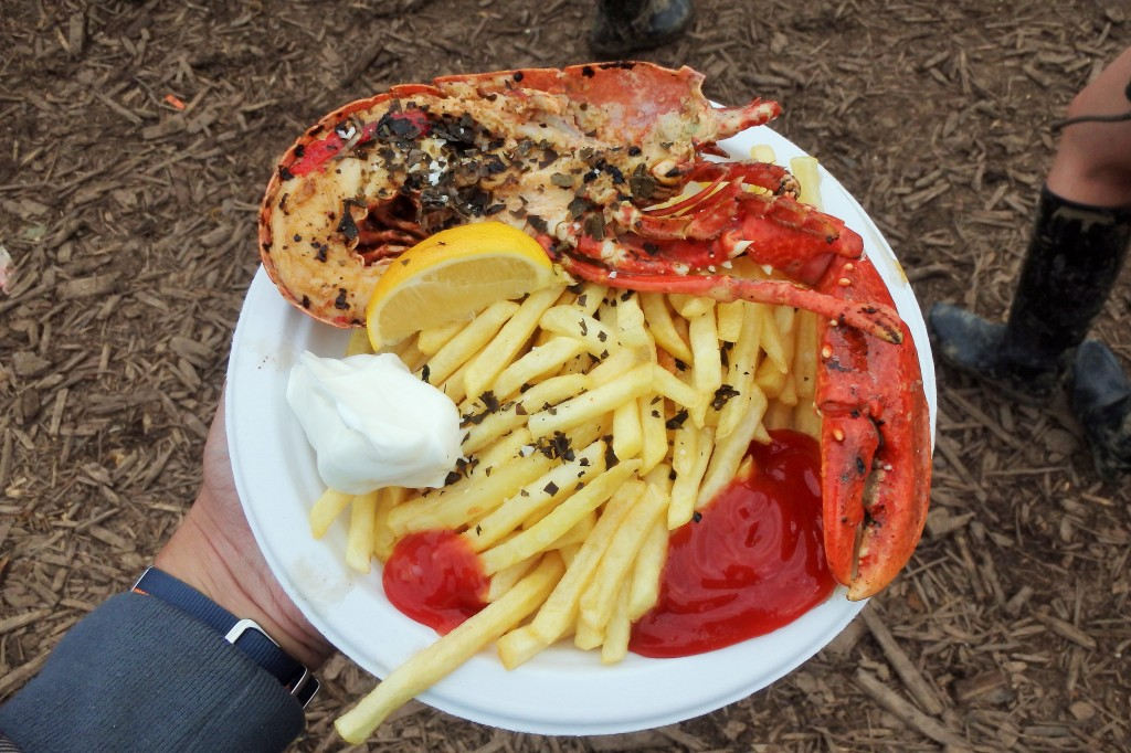 Not your standard festival food - grilled lobster