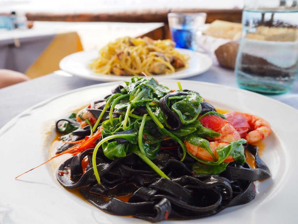 Squid ink pasta with prawns