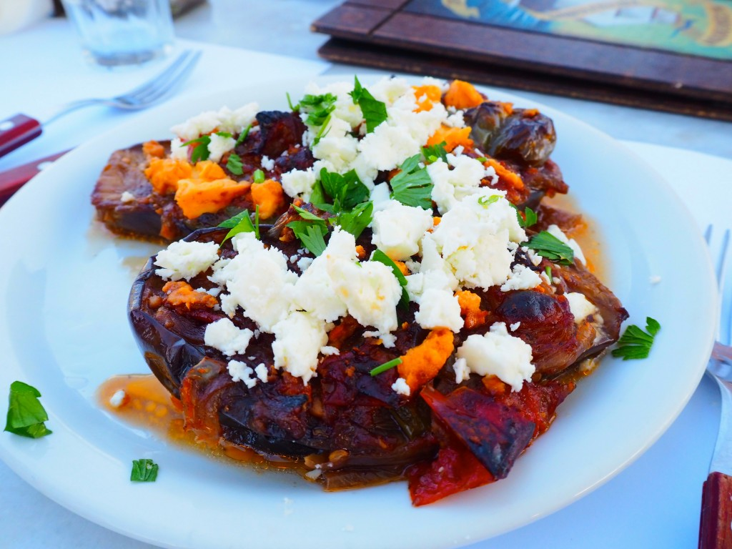 Baked aubergine with crumbled feta
