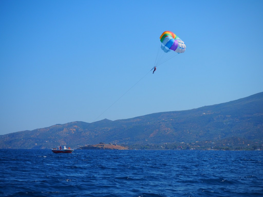 Parasailing over Poros
