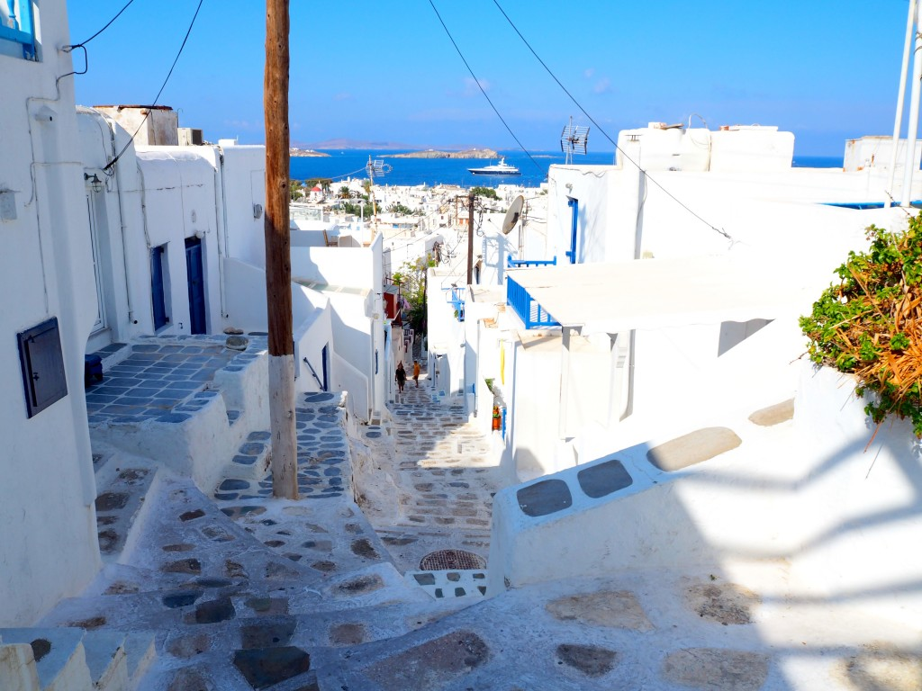 Climbing to the top of Mykonos Town