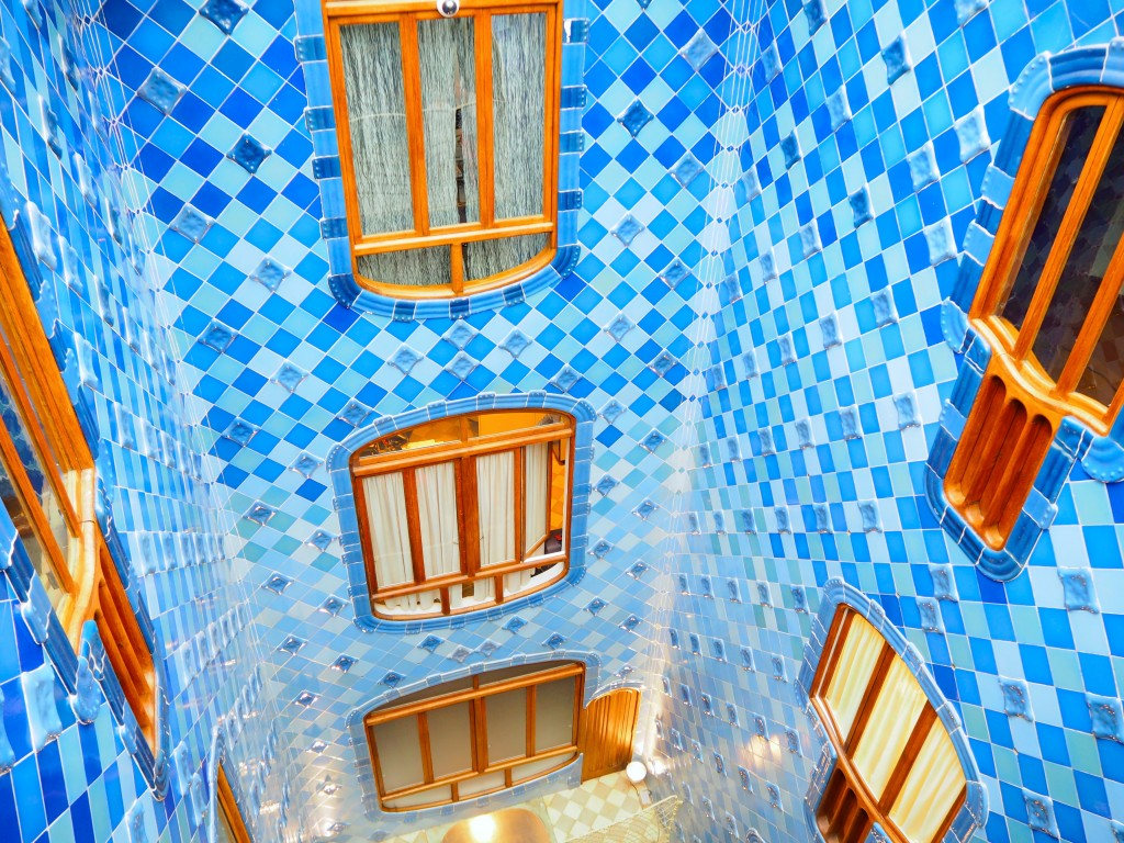 Looking down the light well - the tiles are lighter blue at the bottom to drive light down and illuminate the area