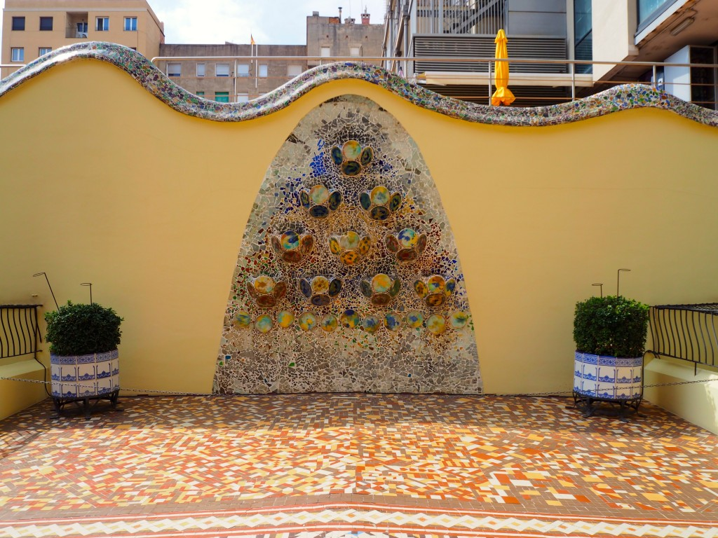 Mosaic tiles in the courtyard