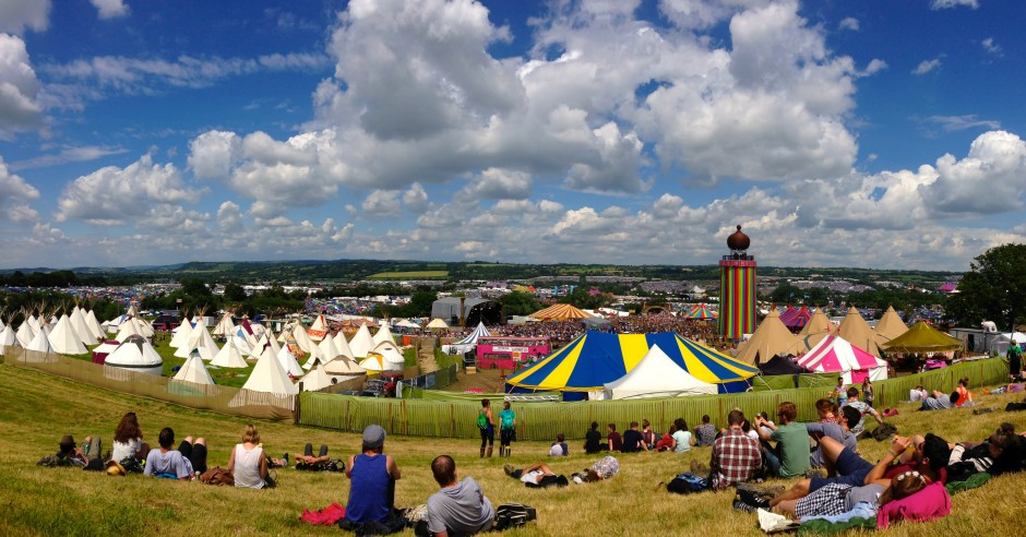 Revelling in the sunshine at Glastonbury (before it rained again)