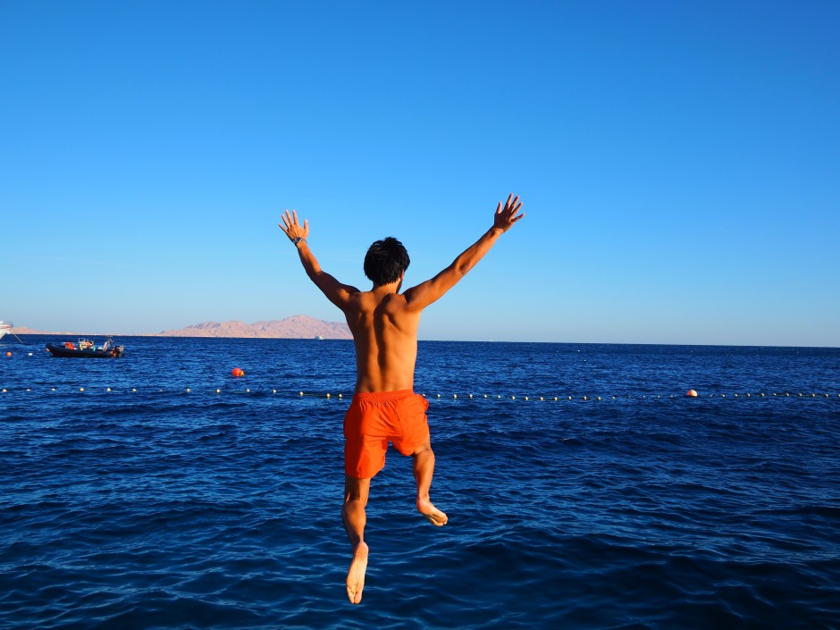 Jumping in the Red Sea