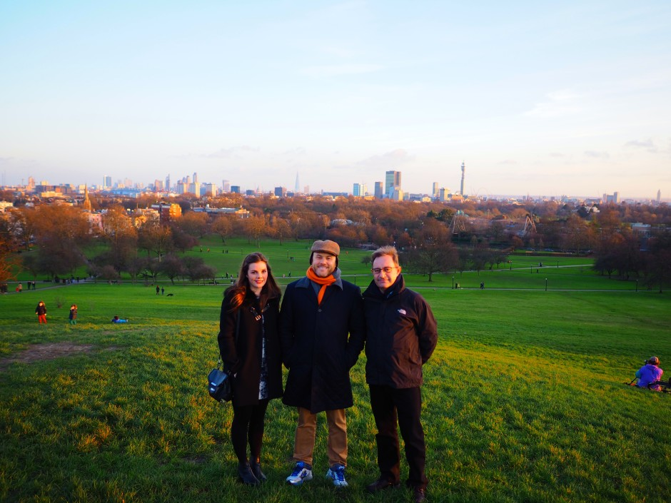 Family walks on Christmas Day up on Primrose Hill